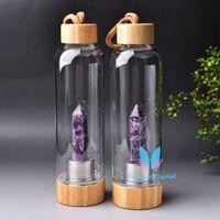 Bouteille de cristal portable naturel reiki quartz pierre gemstone tasse de coiffe de boissons multicolore cicatrisant 500 ml de randonnée camping hydratation accessoires