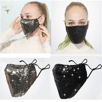 Reusable Pm2.5 Bling Washable Fashion Care Shield 3d Sun Color Gold Elbow Sequins Designer Party Masks Shiny Face Mask Dhl E7CO