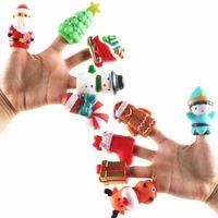 5PCS LOT Christmas Halloween Finger Puppets Set Soft Cartoon Rubber Dolls Party Favor Props Baby Kids Children Desktop Toys Pumpkin Ghost Xmas Tree DollGift G88QNZJ