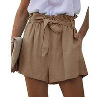 Kadın Şort Pantalones Cortos De Mujer 2021 Yaz Tarzı Rahat Kağıt Torba Kemer Cep Gevşek Elastik Dantel Pileli Geniş-Bacak