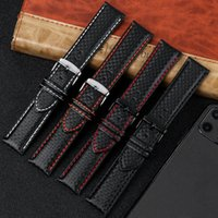Watch Bands Strap 18mm 20mm 22mm 24mm Mens High Quality Leather Carbon Fiber Grain Black With Stitching Band