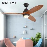 Ceiling Fans BOTIMI 220V Reversal Fuction 52 Inch Led Fan With Lights For Living Room Ventilateur De Plafon Bedroom Cooling Lamp