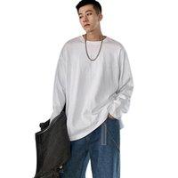 T-shirts Homme T-shirt Casual Couleur Solide Col à manches longues Colle à manches longues Top en coton en vrac Vêtements hommes 2021