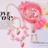 Детский мультфильм ювелирные изделия набор девушки принцесса милое ожерелье браслет кольцо ухальный клип 5 кусок на день рождения подарок