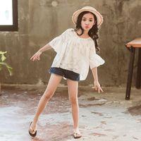 Girl Summer Clothing Set Chiffon Ruffles Tops Shirts+denim Shorts 2 pieces sets Kids Fashion Suits Girls Clothes