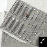 Sieraden Roll Tas voor Ring Oorbellen Organizer Sieraden Opbergzakken Draagbare Hanger Display Cases Zwart / Grijs Velvet 15 * 10cm 1109 Q2