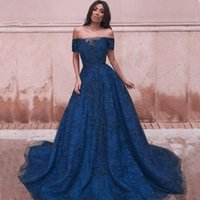 2022 Lace Evening Dresses Dark Blue A Line Off The Shoulder Long Prom Gowns Appliqued Designer Gorgeous Formal Occasio Party Dress