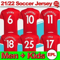 # 25 Sancho Home Rote Fussball Jersey 2021/2022 # 11 Greenwood # 18 B.Fernandes Männer Erwachsene Fußball Hemd 21/22 # 10 Rashford # 6 Pogba # 14 Lingard Football Uniform Kids Kit