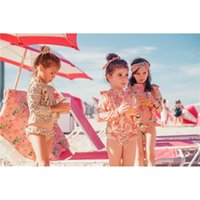 Floral Swimwear 2020 Summer New Style 2pcs Set Long Sleeve Swimsuit for Hot Spring Kids Cute Swimsuit Clothing 3-8Y E20207
