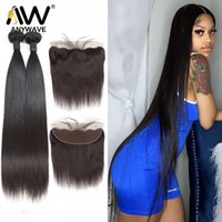 Straight 30 36 40 Inch Brazilian Remy Virgin Human Hair Weave 3 4 Bundles With 13x4 Lace Frontal Closure Extension Wholesale