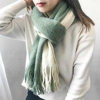 Шарфы Mingjiebihuo поступление мода осенью и зимой корейский длинный студент японские свежие утолщенные теплые лоскутный шарф
