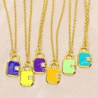Pendant Necklaces 10 Pcs Enamel Lock Necklace Jewelry Accessories Gift 51822