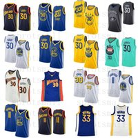 Stephen 30 Köri Yeni Şehir Basketbol Jersey Mens 33 James Wiseman Klay 11 Thompson Kolsuz Mavi Beyaz Basketbol Gömlek