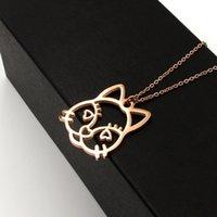 M1-503 Lange große herzförmige Katze Kopf Rose Pullover Halskette Katze Titanstahl Plattiertes Gold