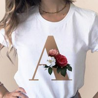 مخصص اسم الرسالة مزيج المرأة عالية الجودة الطباعة تي شيرت زهرة الخط b c d d e f g ملابس قصيرة الأكمام