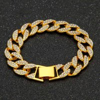 Link, Chain 15MM Miami Cuban Link Bracelet Mens Iced Out Bling Full Paved Rhinestones CZ For Women Gold Silver Color Rock Jewelry