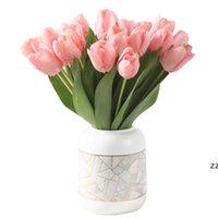Fleurs artificielles Tulipe Fake Flower Bouquet Véritable Toux-Tulipes pour la décoration de mariage à domicile 35cm 9 Couleur HWWE8221