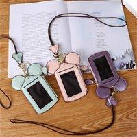 مصغرة الهوية الأكمام آذان الماوس بطاقات حقيبة الكرتون حافلة بطاقة غطاء حامل مع الحبل عملة بوصة الكبار هدية الطفل 8QD H1 X7CB 02LZ