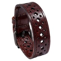 Vintage Genuine Leather Cuff Bracelet Punk Solid Hollow Out Bracelets Rock Wristbands Retro Wrap Bangle for Men Women