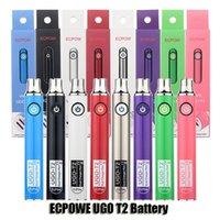 원래 ECPOW UGO T2 가변 전압 650mAh 900mAh 배터리 예열 VV 듀얼 충전기 포트 vape 펜 배터리 510 두꺼운 오일 카트리지