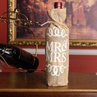 Yeni MR MRS JUTE Şarap Şişesi Kapağı Hediye Çantası Rustik Düğün Dekorasyon Yıldönümü Parti Dekorasyon Şarap DHF7015
