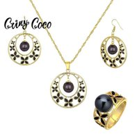 Cring Coco Fashion 2020 Hawaiian Gold Jewelry Pearl Sets for Women Jewellery Female Earring and Necklace Geometric Rings Set