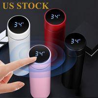 DHL Livraison Stock Smart Tasse Température Affichage Vacual Acier Inoxydable Bouteille d'eau de la température Température Thermo Cup
