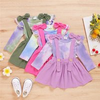 0-24M Toddler Kids Baby Girls Clothes Set Long Sleeve Tie Dye Knitted T Shirt Tops + Bow Tutu Strap Skirts Princess Costume Clothing Sets