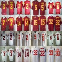 Futebol Jersey USC Trojans College 2 Robert Woods 6 Mark Sanchez 5 Reggie Bush 7 Matt Barkley 14 Sam Darnold 15 Michael Bowman 32 O.J Simpson