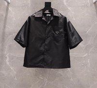 2021 Bayan ve Erkek Gömlek Rahat Marka Kısa Bluzlar Klasik Ters Üçgen Gevşek İthal Yüksek Kaliteli Naylon Takım Yaz Boyutu S-XL Tops