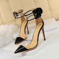 Femmes Femmes High High Talons Barefoot Sandales Femelle Transparente Creux 10 cm