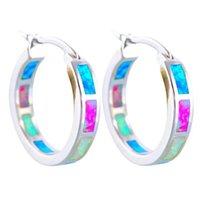 Femmes Circulaire Couleur Hoop Boucles d'oreilles Bijoux Lady Type C Plaqué d'opale Argent Mode Déclaration Boucle d'oreille 2 7HJ J2