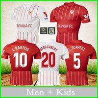 Sevilla 축구 유니폼 2021 2022 I. Rakitic J. Navas de Jong Then Banega L. Ocampos Papu Gomez 홈 멀리 세 번째 축구 셔츠 성인 남성 유니폼 + 키즈 키트 유니폼
