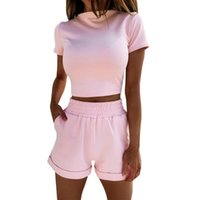 Women's Tracksuits Yoga Sets Clothes Women Elastic Waist Summer Casual Solid Crop Top And Shorts Two Piece Outfits Lounge Sweatsuit