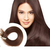 Venda por atacado fonte direta de fábrica espessura extremidades # 4 médio marrom remy fita de cabelo em extensões de cabelo humano 50g 20 pcs