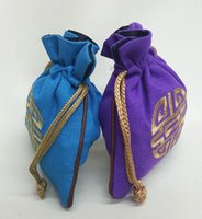 Chinese FOLK Coin Purse Pouch Thickening jute Drawstring Gift Bags for Jewelry cotton Bag Pouch Chinese PACKING BAGS Wholesale