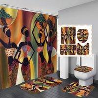 4pcs / set style exotique rideau de douche tapis salle de bain étanche rideaux de toilette siège toilette coussin de coussin