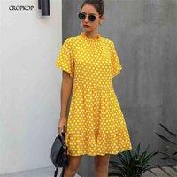Black Kleid Polka-Punkt Frauen Sommer Sommer Sommerkleidung Casual White Lose Fit Kleidung Freie Personen Gelbe Damen Kleidung Alltäglich 210402