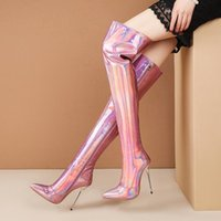 Boots 2021 Ladies Laser Thigh Female Sexy Stiletto Heel Microfiber Pointed Toe Fashion Zipper Mirror Women's Shoes