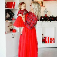 Family Matching Clothes Mother Daughter Dress Mom Girl Plaids Bow Plaid A Line Fashion Striped Red Spliced Long Casual Dresses