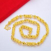 لا تتلاشى إلى الأبد 24 كيلو الذهب الأصفر قلادة للرجال والنساء collares موهير naszyjnik bizuteria سلاسل قلادات قلادات طبيعية