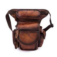 Sacos de cintura Norbinus Genuine Leather Drop Leg Bag Homens Motocicleta Coxa Ombro Messenger Masculino Belt Fanny Packs Câmera Bolsa