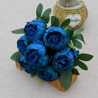 Decorative Flowers & Wreaths 7 Heads Artificial Peony Bouquets Wedding Arrangement,Blue Red White Silk Peonies Flower Home Office Table Deco
