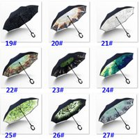 56 Styles Folding Reverse Umbrella Double Layer C Handle Umbrellas Unisex Inverted Long Handle Windproof Rain Car Umbrellas sea ship RRD7041