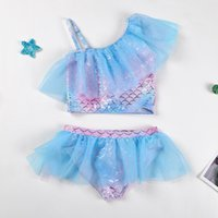 One-Pieces Girl Swimsuit Cute Baby Swimswear Beach Bathing Suits For Kids 1-10y Children's Bikini Rainbow Print Quick-drying Swimming Wear