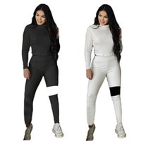 Women knitted ribbed outfits Fall winter Clothes long sleeve tracksuits pullover sweatshirt leggings two Piece set Plus size 2XL Casual black sweatsuits 5825