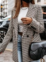 Women's Suits & Blazers Autumn Women Plaid Button Front Blazer 2021 Femme Elegant Label Collar Pocket Designed Coat Office Lady Traf Daily O