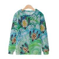 Sudaderas con capucha para hombre Sudaderas Otoño e Invierno Elementos de tortugas de invierno Impresión digital 3D Espesado Casual All-Match Cuello redondo Suéter
