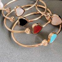 Hot Luxury Brand Pure 925 Sterling Silver Jewelry For Women Feliz Diseño Rosa Gold Cuff Bangle Bañera Color Colorido Diamante