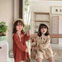 Девушка платья Euerdodo весна осень девочек платье вышивка одежда хлопок с длинным рукавом корейский стиль принцесса повседневная